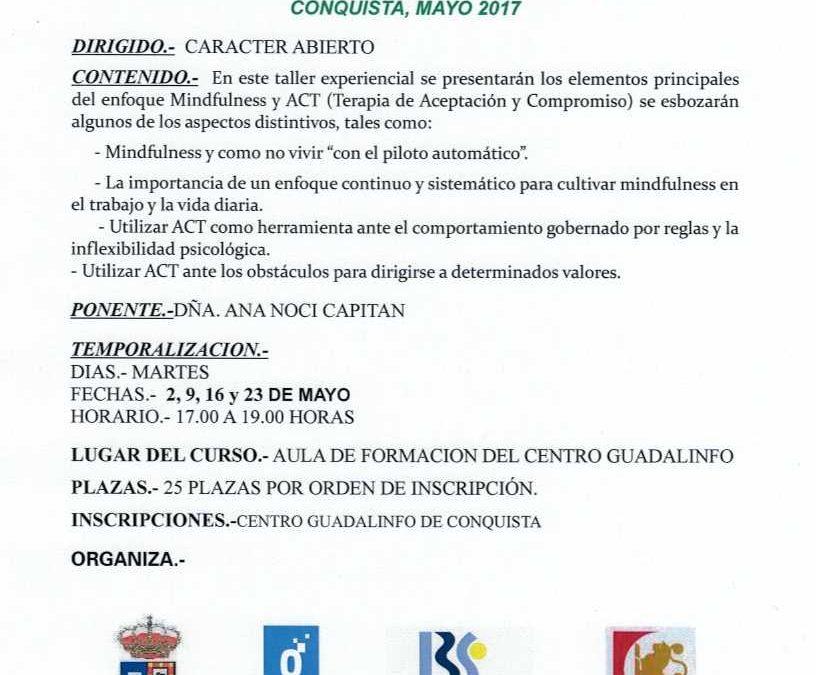 TALLER DE MINDFULNESS. CONQUISTA 2017 1