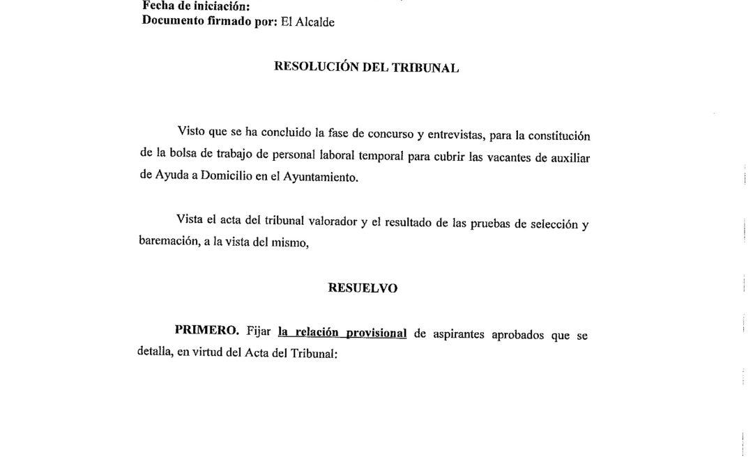RES. ALCALDÍA LISTA PROVISIONAL CANDIDATOS PS SERVICIO AYUDA A DOMICILIO 1