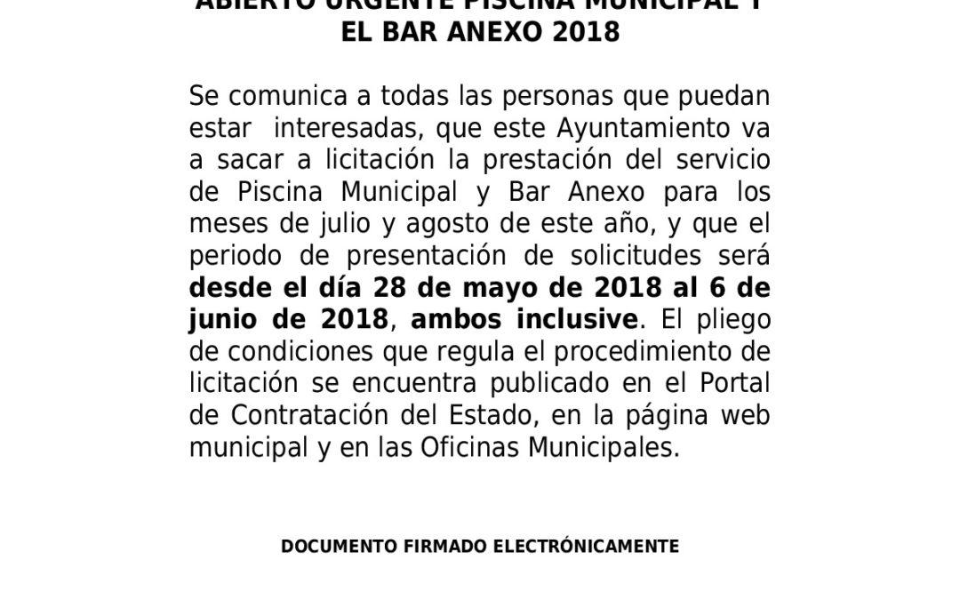 Bando y Pliego Licitación Piscina Municipal y Bar Anexo 2018 1