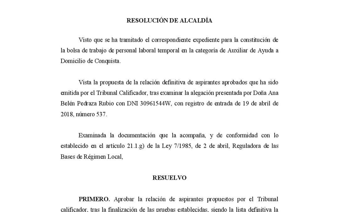 RESOLUCIÓN DEFINITIVA BOLSA SERVICIO AYUDA A DOMICILIO 1