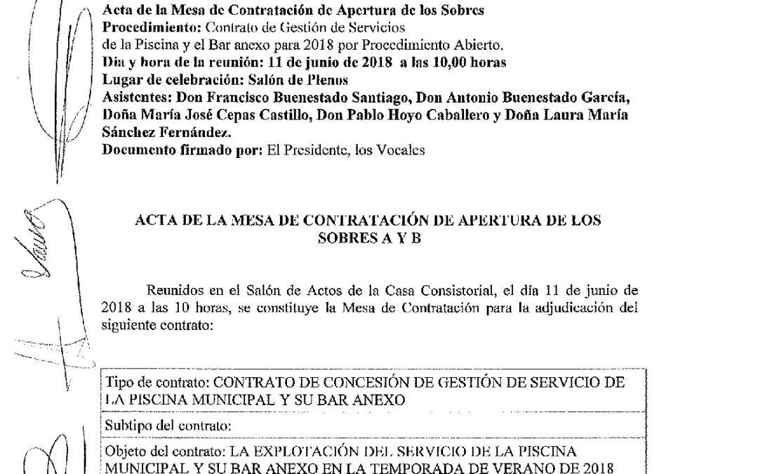 Acta Mesa de Contratación Licitación Piscina Municipal y Servicio Bar Anexo