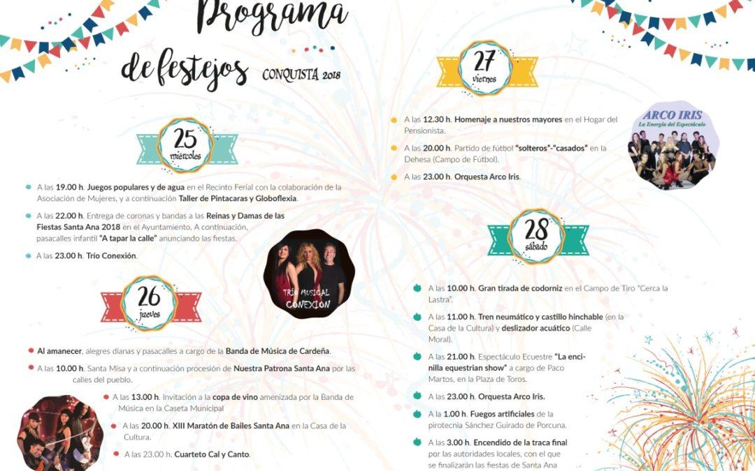 Programa de Festejos FERIA Y FIESTAS SANTA ANA 2018 1