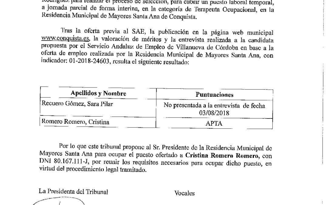 Acta Tribunal Plaza Terapeuta Organismo Autónomo 1