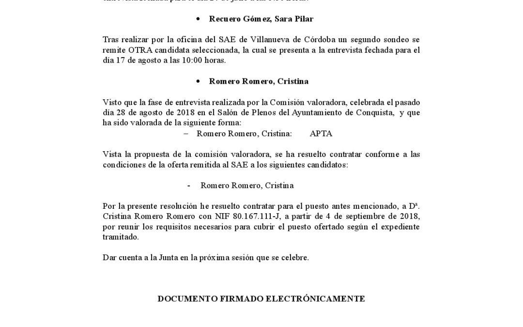 Resolución Contratación Plaza Terapeuta Organismo Autónomo