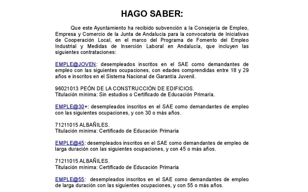 Bando Programas de Fomento de Empleo de la Junta de Andalucía. 1