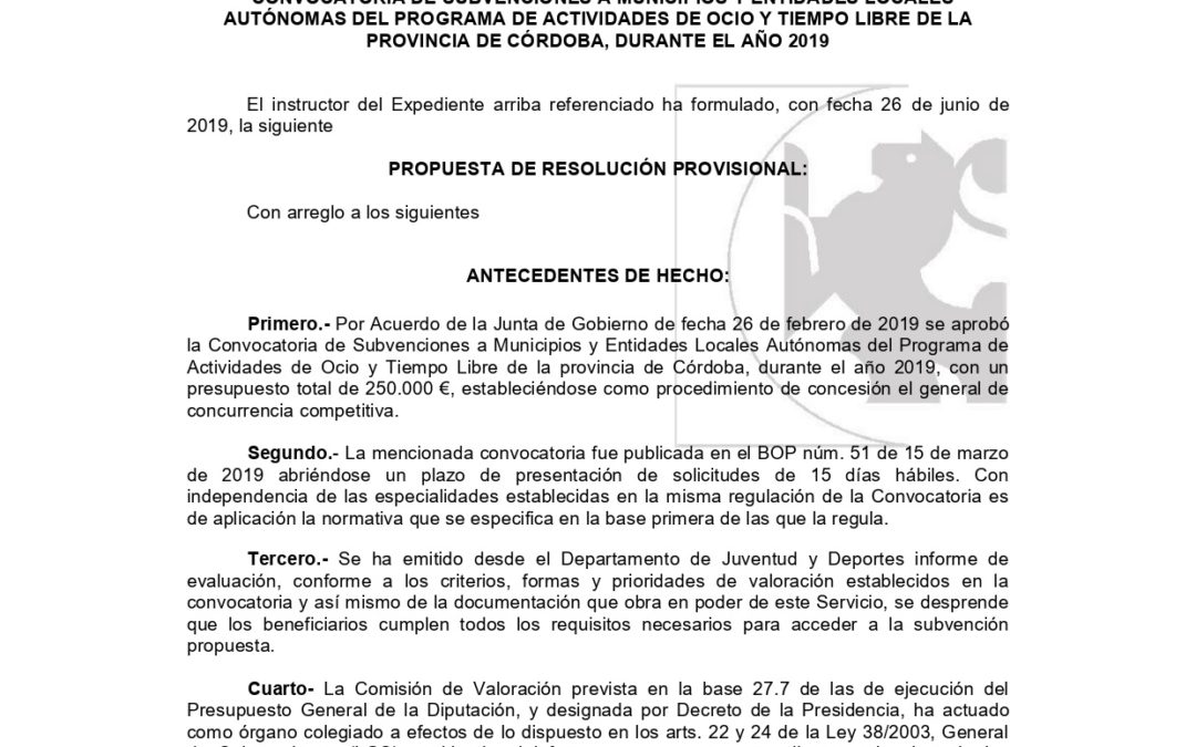 Recibida Resolución Provisional de la Convocatoria para el Programa Ocio y Tiempo Libre 2019 Diputación 1