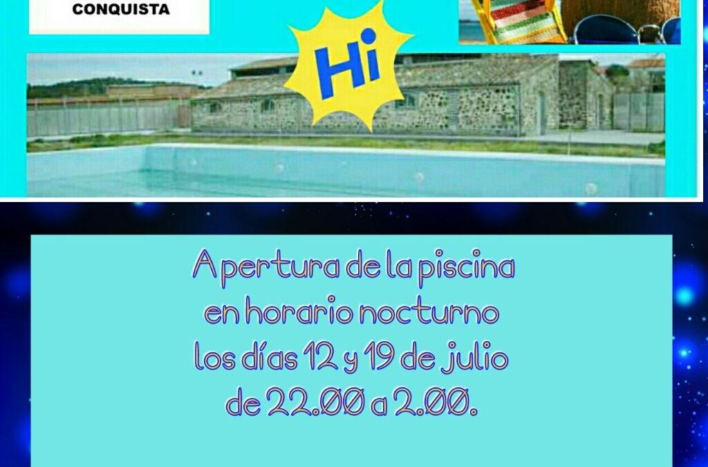Cartel Apertura Nocturna de la Piscina Municipal los Próximos 12 y 19 de Julio.