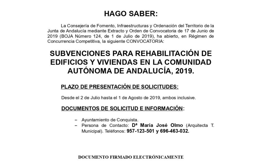 Nota Informativa Apertura Plazo Solicitud Subvenciones REHABILITACIÓN DE VIVIENDAS Junta de Andalucía. 1