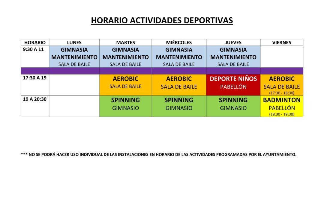 Nuevo Horario de ACTIVIDADES DEPORTIVAS MUNICIPALES 1