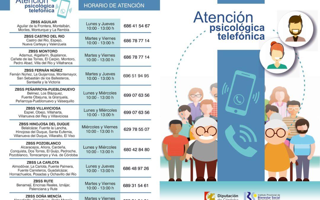 Información del Instituto Provincial de Bienestar Social (IPBS). Teléfono de Atención Psicológica. 1