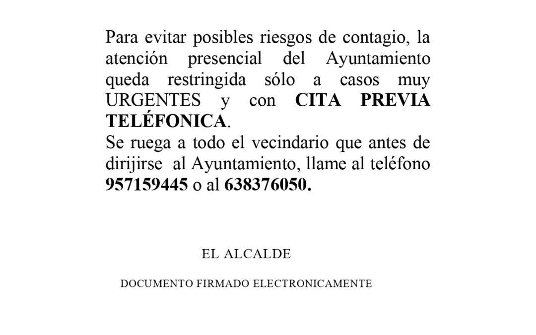 Aviso sobre formas de Atención Presencial en el Ayuntamiento de Conquista durante la Cuarentena por el Virus COVID-19. 1