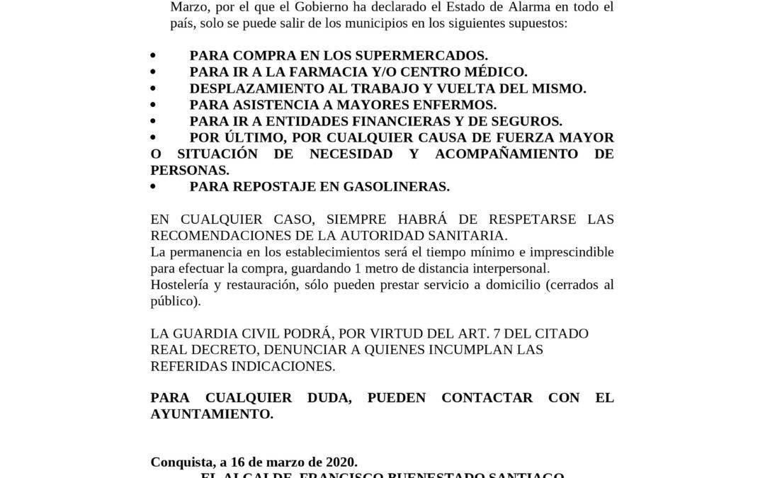 BANDO DECRETO L. DECLARACIÓN ESTADO DE ALARMA EN TODO EL PAÍS.