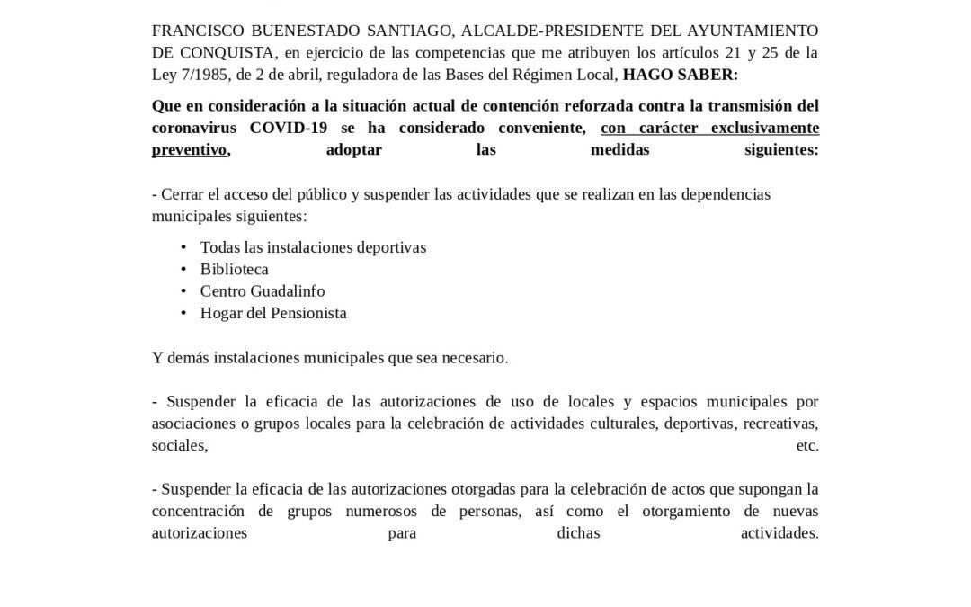 BANDO DEL AYUNTAMIENTO DE CONQUISTA MEDIDAS PREVENTIVAS VIRUS COVID 19. 1