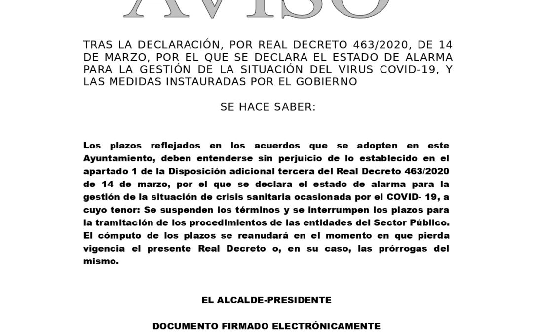 Decreto Suspensión de Plazos durante Declaración Estado de Alarma. 1