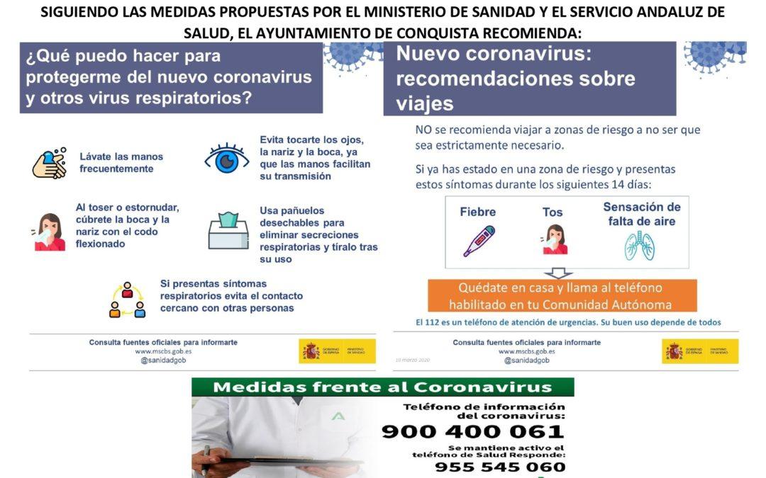 INFOGRAFÍA INFORMATIVA DEL AYUNTAMIENTO DE CONQUISTA ACERCA DEL CORONAVIRUS.
