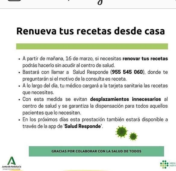 Renovación de Recetas desde Casa. Información del Servicio Andaluz de Salud.