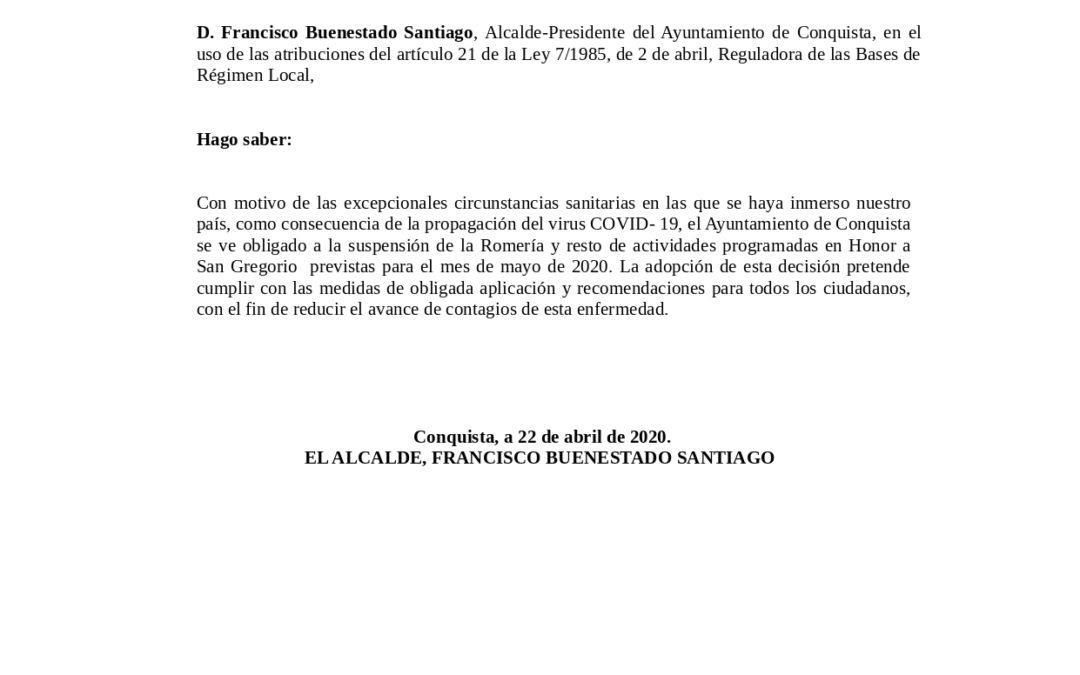 Bando Comunicando Suspensión Actos San Gregorio, 2020.