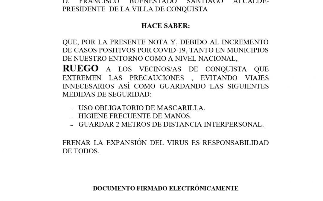 Nota Informativa ante Incremento de Nuevos Casos COVID19.