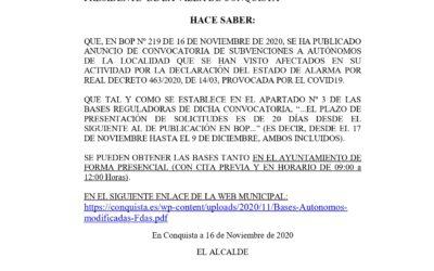 Bando Subvenciones Autónomos Afectados en su Actividad por Declaración Estado de Alarma RD 463/2020, de 14/03, por COVID19.