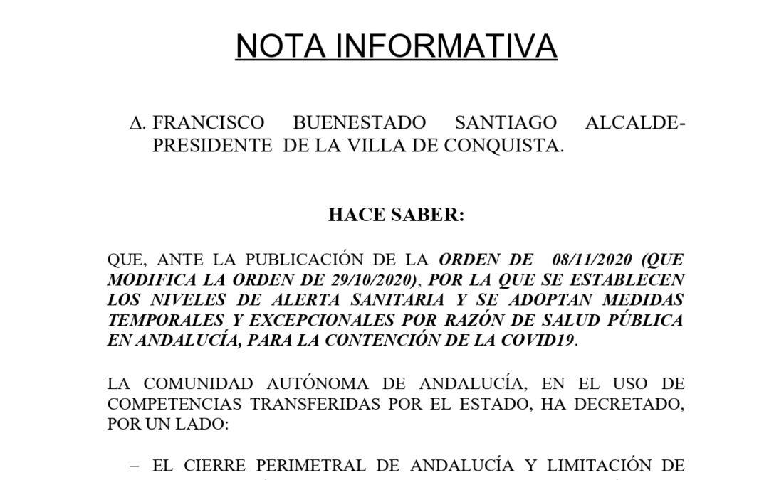 Nota Informativa sobre Nuevas Medidas, publicadas en BOJA, a aplicar en Andalucía ante la pandemia mundial por COVID19.