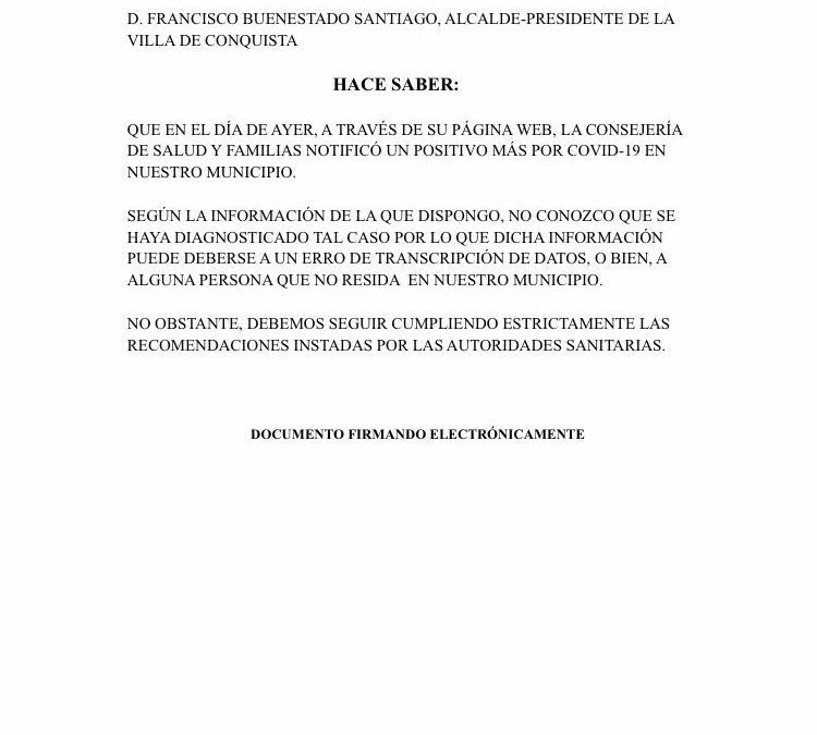 Nota Informativa sobre no constancia ante notificación de nuevo caso COVID19.