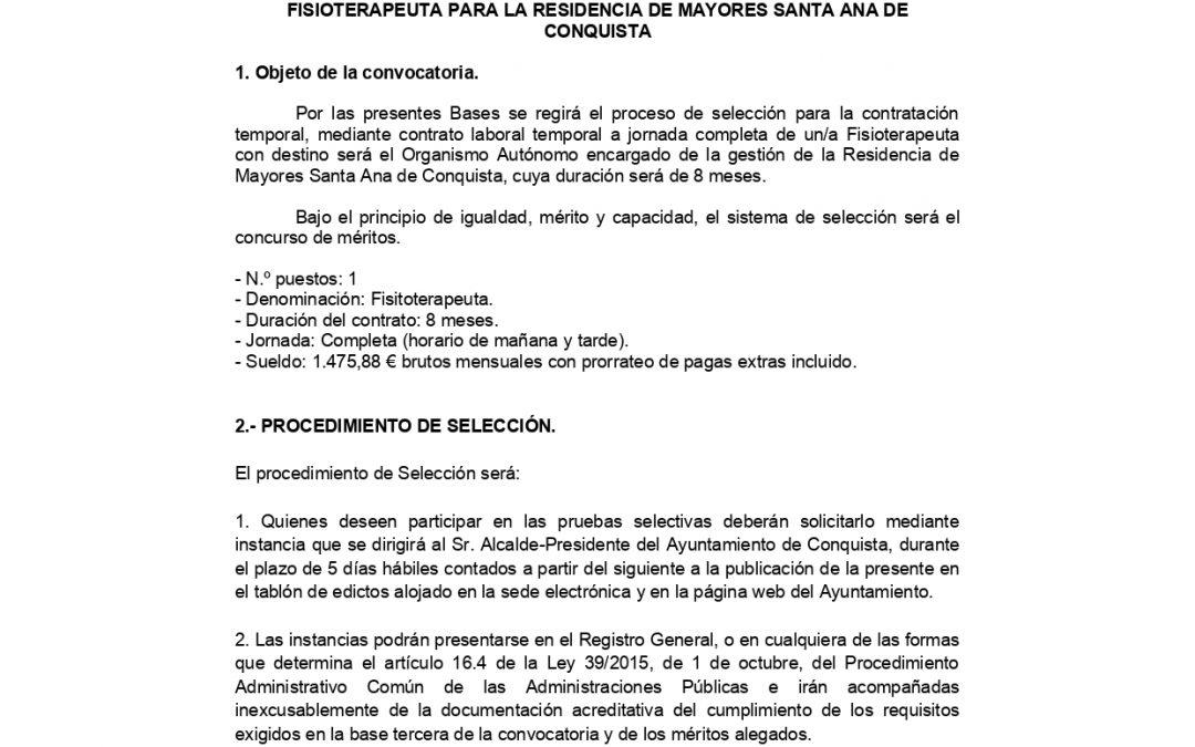 Bases Proceso Selectivo Fisioterapeuta Residencia Mpal. de Mayores Santa Ana.
