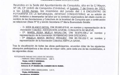 Acta con el Fallo del Jurado del II ENCUENTRO DE FOTOGRAFÍA EN LA NATURALEZA DEHESAS CONQUISTEÑAS, celebrado los días 26 y 27 DE DICIEMBRE de 2020..
