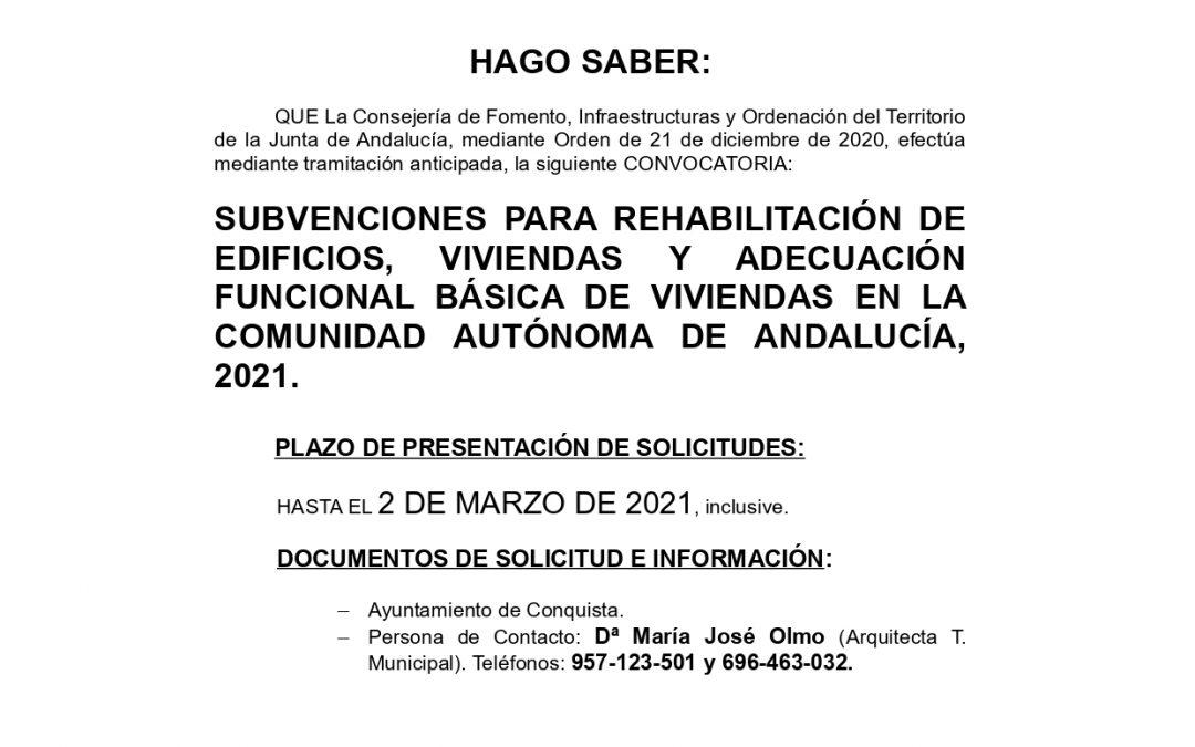 NOTA INFORMATIVA Programa Rehabilitación y Adecuación de Viviendas de la Junta de Andalucía.