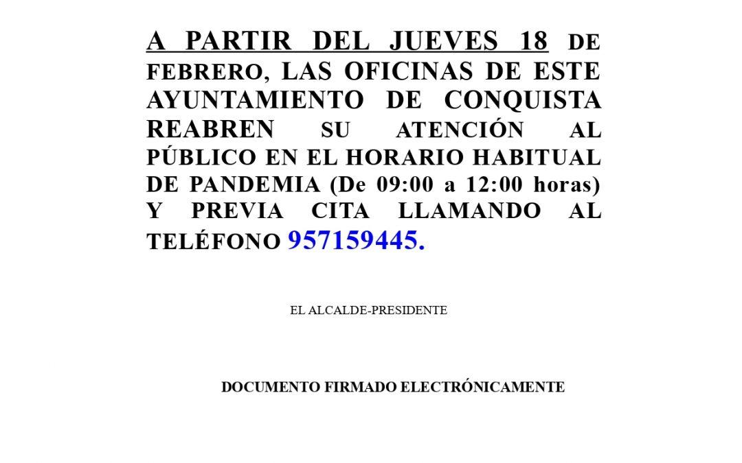 Aviso Reapertura Oficinas del Ayuntamiento a partir del JUEVES 18 DE FEBRERO.