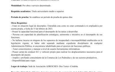 Oferta de Empleo: Selección de Técnico en ADROCHES.