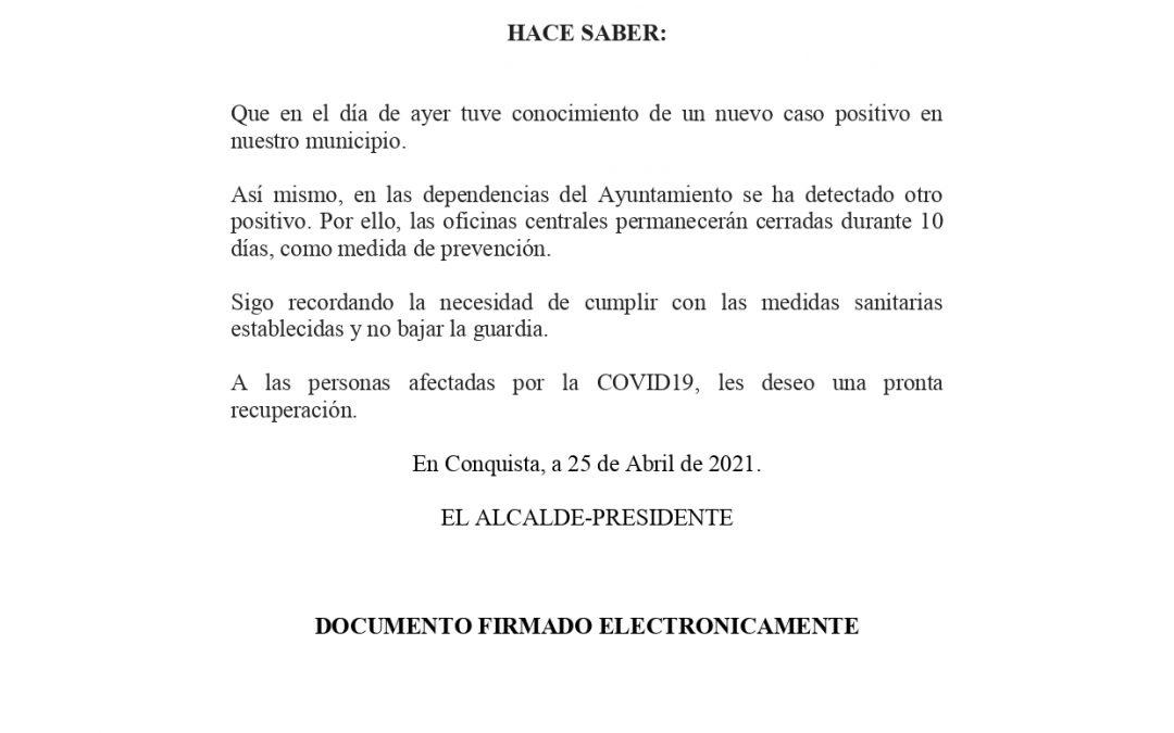 Bando Nuevo Caso en la población (5 activos) y en el personal del Ayuntamiento que conlleva cierre temporal de 10 días de sus oficinas y dependencias principales.