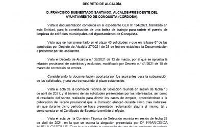 DECRETO ESTIMACIÓN ALEGACIÓN Y APROBACION DEFINITIVA PUESTO DE LIMPIEZA DE EDIFICIOS MUNICIPALES