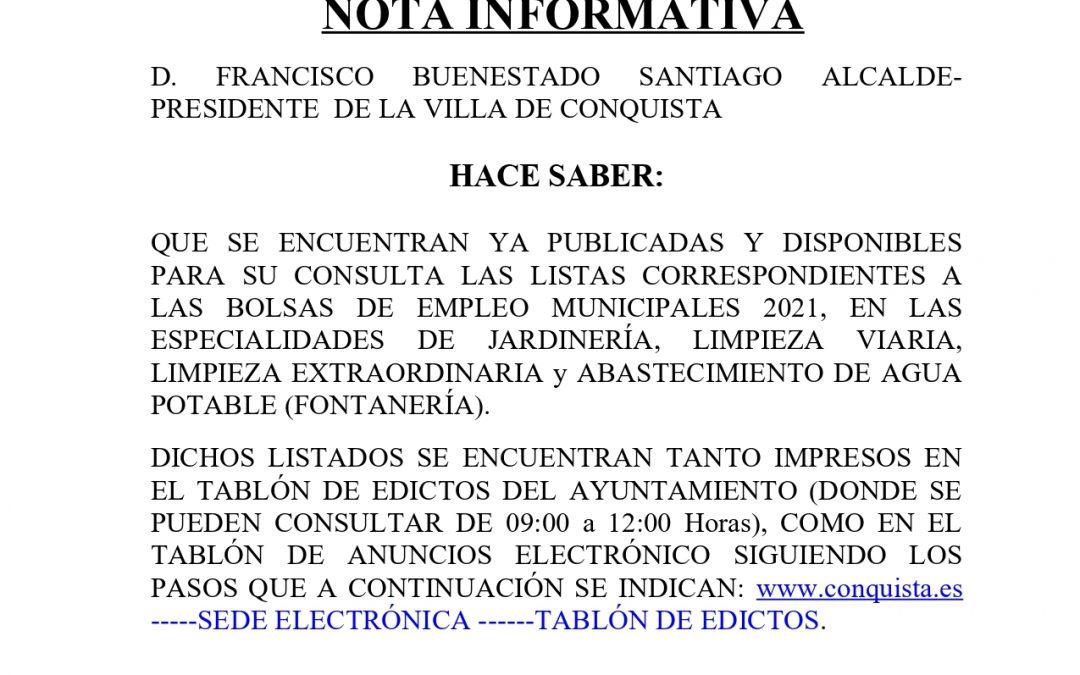 Nota Informativa Publicados y Disponibles para Consulta Listados Provisionales Bolsas de Empleo, 2021.