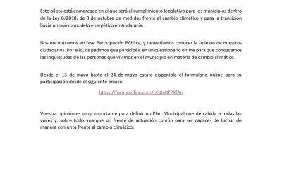 Cuestionario de participación pública ciudadana. Proyecto COMUNICACIÓN y PARTICIPACIÓN 01.