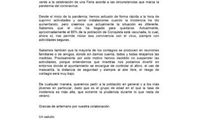 COMUNICADO OFICIAL DEL EQUIPO DE GOBIERNO MUNICIPAL.