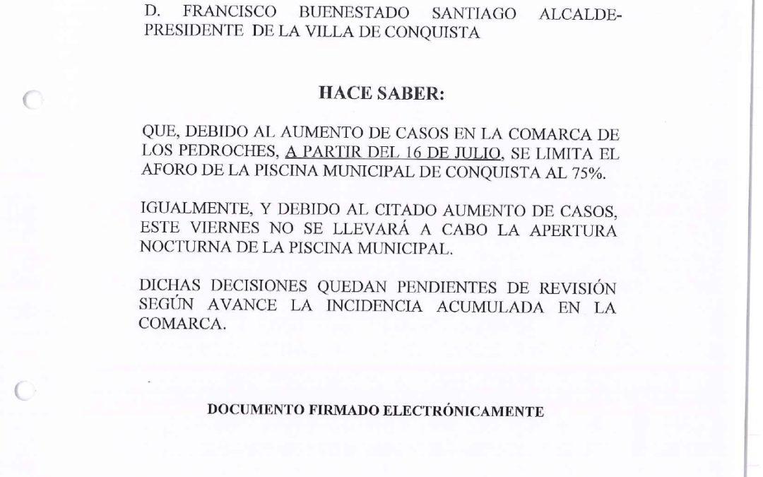 Nota Informativa REDUCCIÓN DE AFORO Y SUSPENSIÓN DE APERTURA NOCTURNA EN PISCINA MUNICIPAL POR AUMENTO DE CASOS DE COVID19 EN LA COMARCA.