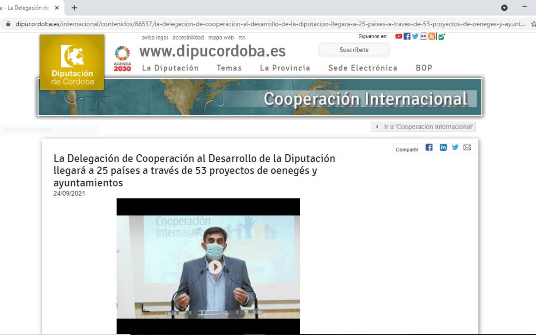 Concedida la Subvención de COOPERACIÓN INTERNACIONAL 2021 de la Diputación de Córdoba.